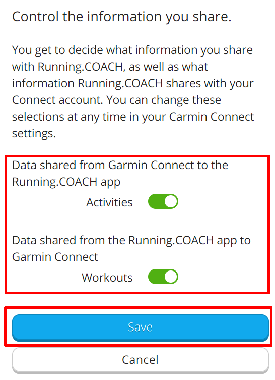 Setup Garmin Connect running.COACH